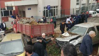 Santral yokuşunda feci kaza; 7 araca çarptı, 5 yaralı!